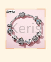 High Quality 1:1 100% Silver Heart Pendant Crown Car Isolation Piece DIY String Bracelet Free Of Charge