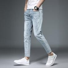 Moda porysowany Plus Size mężczyźni dżinsy stałe szczupła kostki długości spodnie jeansowe dorywczo długość kostki Streetwear tanie tanio BIUZKO Przycisk fly light NONE Na co dzień Midweight men ankle length jeans Zmiękczania Ołówek spodnie