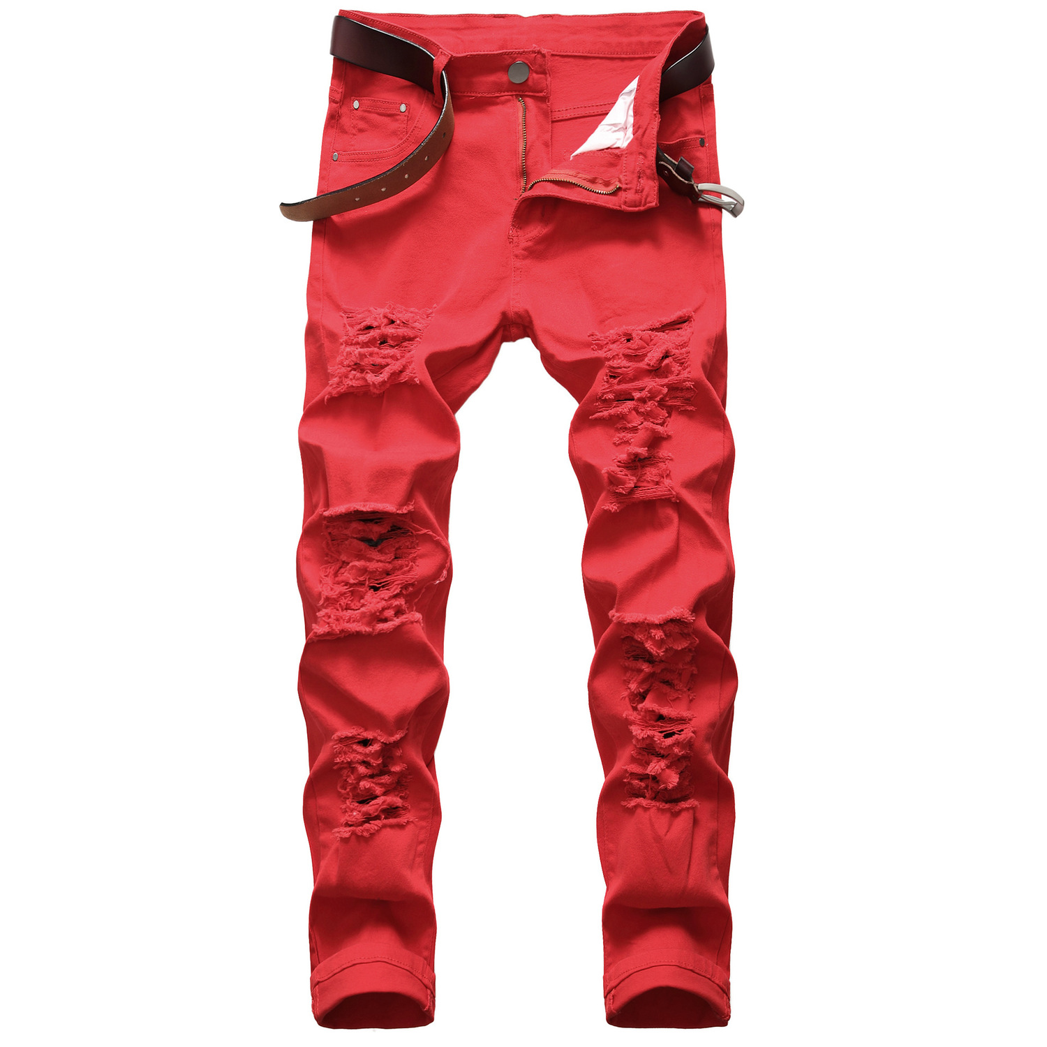 Men's Leisure Holes Elastic Force Jeans Cowboy Male Aristotle Holes White Pants Destroyed Frayed Rip Shredded Tight Trousers