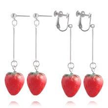 Mode fruits fraise goutte boucle d'oreille acrylique rouge fraise pince boucle d'oreille pour les femmes bijoux accessoires bricolage