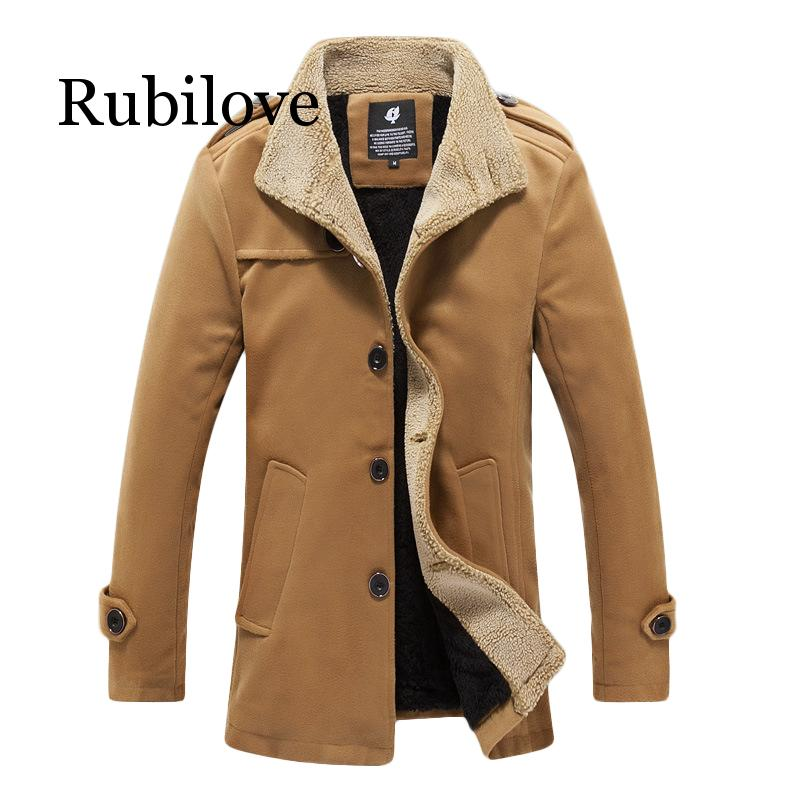 Rubilove Winter Wool Coat Men Casual Basic Jackets Windbreaker Plus Size Man Coats 2019 Overcoat Mens And P