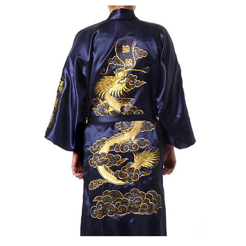 Большой размер 3XL халат для мужчин вышивка платье с драконами ночное белье мягкое атласное Lounge Ночная рубашка пижамы сексуальное свободное повседневное кимоно платье - Цвет: Navy Blue Robe
