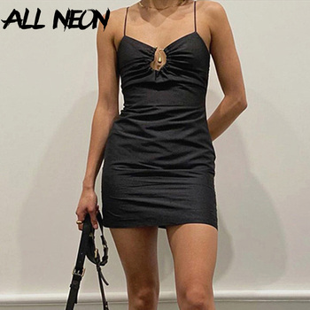 ALLNeon Vintage Hollow Out Ruched Bodycon Black Dresses Y2K Fashion Backless Spaghetti Strap Black Mini Dress Party Outfit Sexy insdoit gothic sexy dress women black spaghetti strap backless bodycon soft dresses print harajuku punk casual party dress