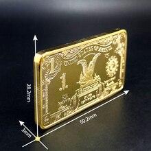 USD 1Dollar Bullion 24k Gold Bar American Metal Coin Golden Bars USD