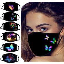 Unissex borboleta impressão máscara facial lavável reutilizável boca rosto quente tampões à prova de vento respirável mascarilla bocas laváveis