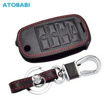4 Buttons Leather Car Key Case For KIA Cerato K3 Optima K5 Rio Forte Carens Soul Folding