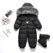 2020 Fur Hooded Baby Girls Romper Winter Boy Jumpsuit Down Warm Kids Onesie Fleece Children Snowsuit Toddler Clothes Outfits