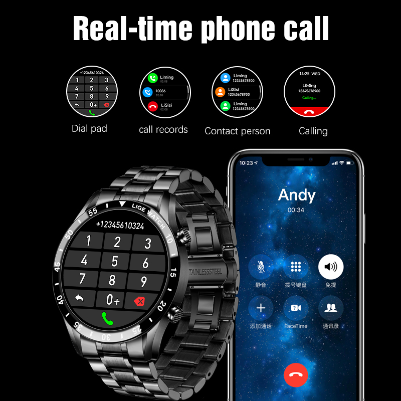 LIGE 2020 New Smart Watch uomo Full Touch Screen Sports Fitness Watch IP67 Bluetooth impermeabile per Android ios smartwatch Mens 2