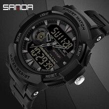 Erkek saati spor yüzme su geçirmez çok fonksiyonlu erkekler elektronik kol saati SANDA üst marka relogio dijital askeri LED