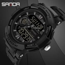 Herren Uhr Sport Schwimmen Wasserdichte Multifunktionale Männer Elektronische Armbanduhr SANDA Top Marke relogio Military digitale