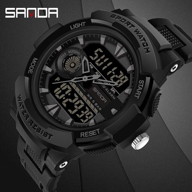 Reloj de pulsera electrónico multifuncional para hombre, deportivo, para natación, resistente al agua, LED