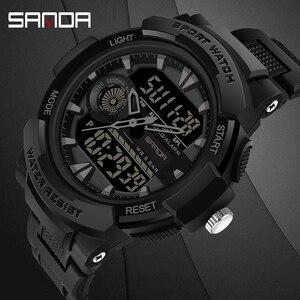 Image 1 - Часы наручные SANDA мужские электронные, спортивные Водонепроницаемые многофункциональные светодиодные цифровые в стиле милитари, для плавания