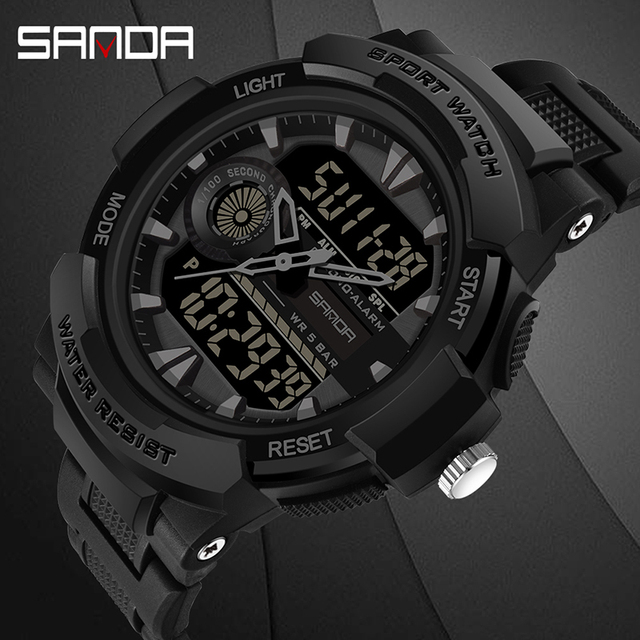 Часы наручные SANDA мужские электронные, спортивные Водонепроницаемые многофункциональные светодиодные цифровые в стиле милитари, для плавания