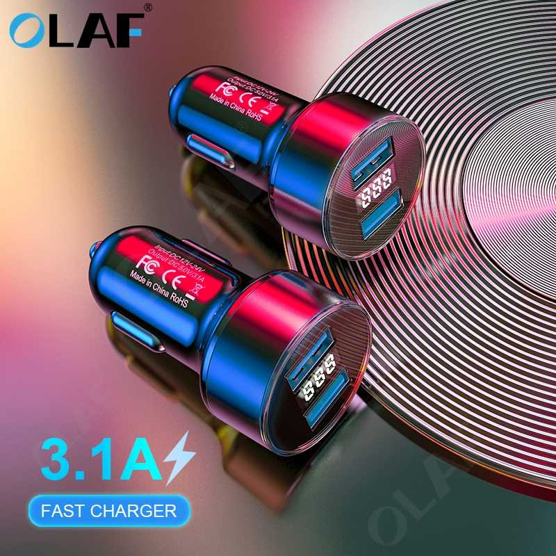 Universal 3.1A LED Display Dual USB Charger Mobil untuk Xiaomi Samsung S8 S9 iPhone X MAX 7 8 PLUS Tablet Mobil Charger