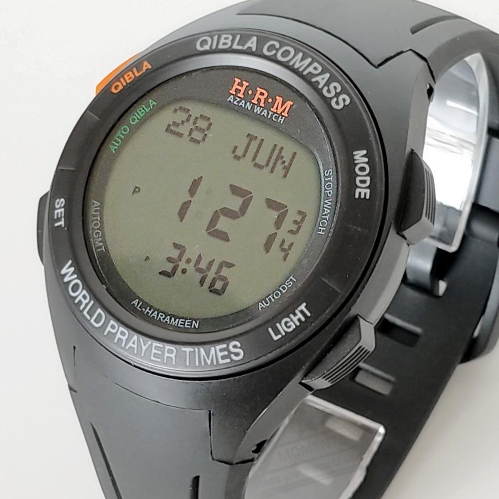 Muslim Qiblah Azan Watch Islamic Sporting Prayer Wristwatch with Shuroq Fajr Time Moon age Hijri Calendar Ramadam Gift