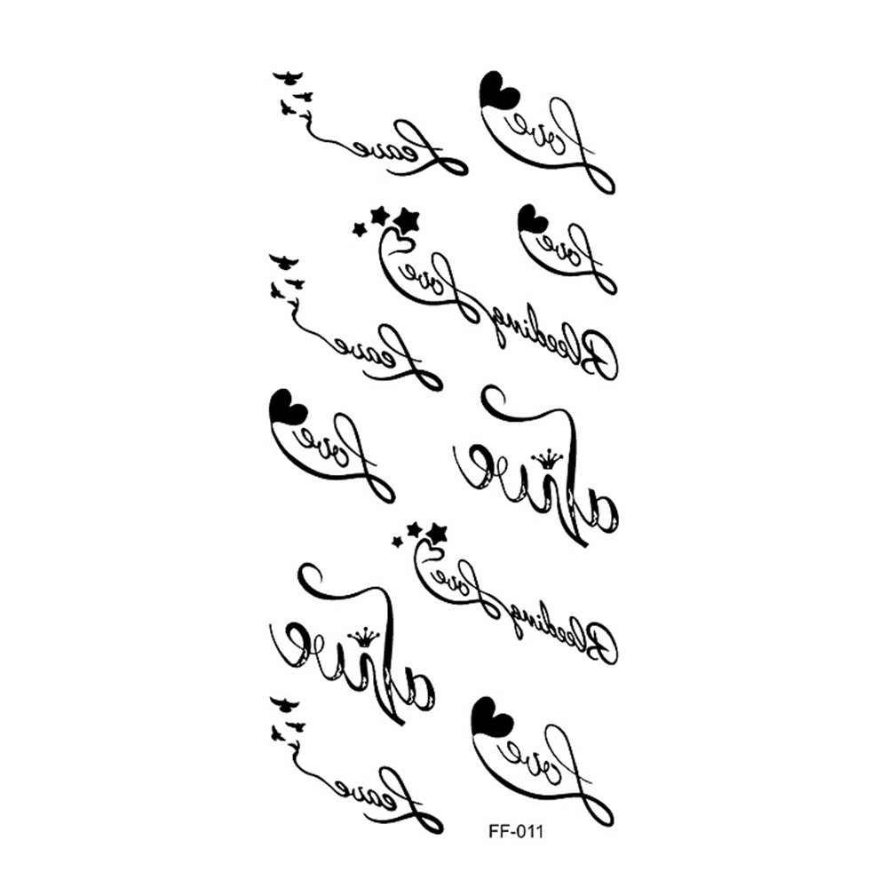 1 Uds impermeable etiqueta engomada del tatuaje temporal carta de amor y corazón gato pájaro tatuaje falso dedo Flash tatuaje para chico chica de las mujeres de los hombres