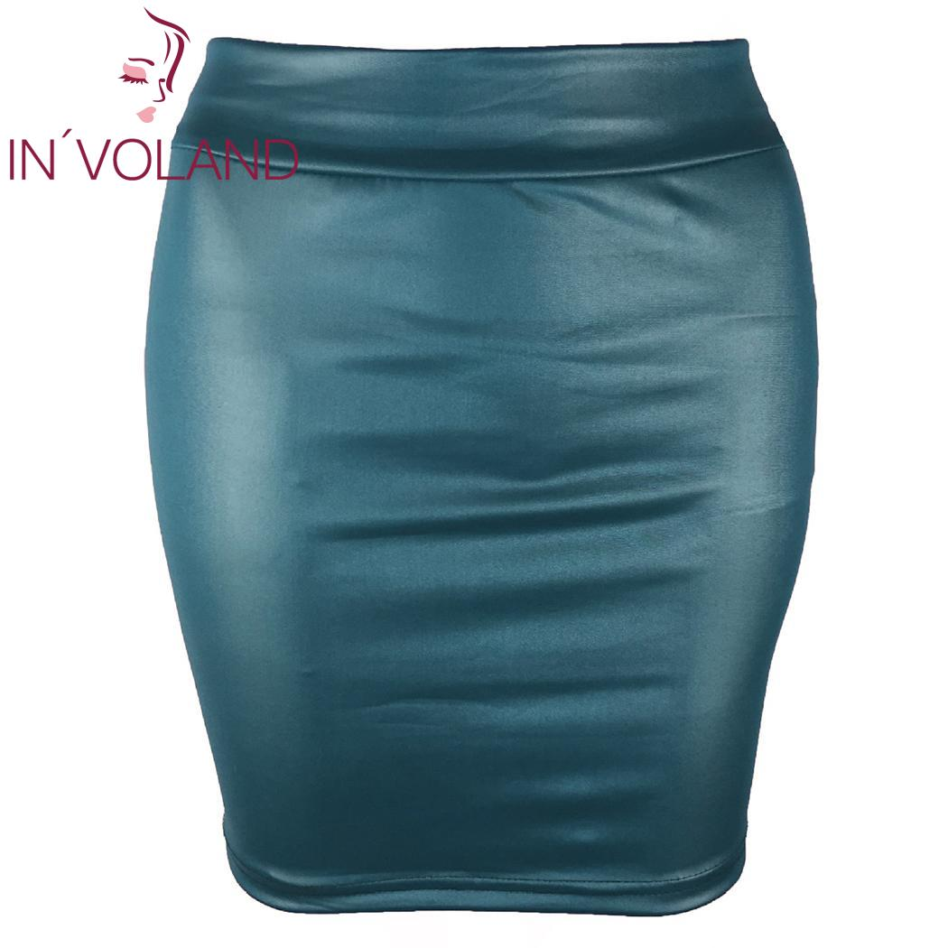 Women Fake Leather Skirts Plus Size 3XL Casual Autumn Summer Solid Color High Waist Artificial Above Knee Female Slim Mini Skirt