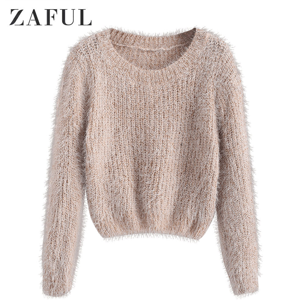 ZAFUL Pullover Fuzzy Heathered Sweater Fluffy Faux Fur Short Round Neck Elastic Daily Women Sweater Autumn Winter Pullovers Tops