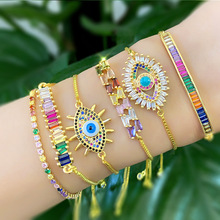 Women Evil Eye Bracelet Gold Color Chain Rainbow Cubic Zirconia Micro Paved Baguette Luxury Jewelry Trendy Bracelets Wave MZ043
