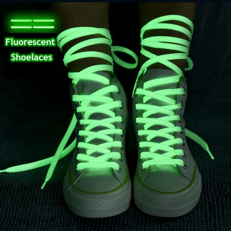 1 Pair Luminous Shoelaces Flat Sneakers Canvas Shoe Laces Glow In The Dark Night Color Fluorescent Shoelace 80/100/120/140cm