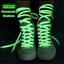 1 paire de lacets de chaussures lumineux, chaussures plates en toile, qui brillent dans la nuit, couleur fluorescente, 80/100/120/140cm