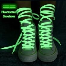 1 par luminoso los cordones de Los zapatos planos zapatillas de deporte zapatos de lona cordones resplandor en el Color oscuro de la noche fluorescente cordón 80/100/120/140cm