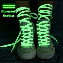 1 para Luminous Shoelaces niskie tenisówki byt płucienny sznurowadła świecące w ciemności noc kolor fluorescencyjny Shoelace 80 100 120 140cm tanie tanio YuanXiangZhu Stałe Luminous effect 20180413001 NYLON Blue White Pink Yellow Green 80cm 100cm 120cm 140cm 0 7cm Sneakers shoelace