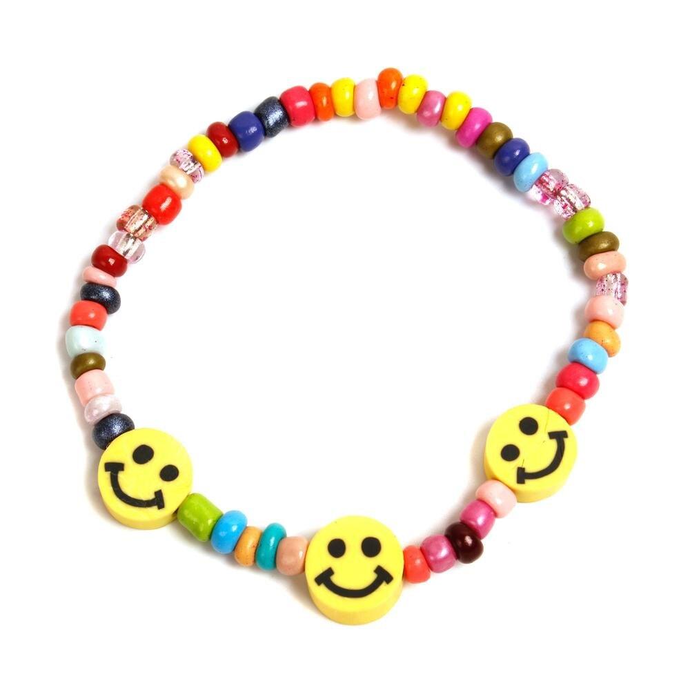 Pulseiras de arco-íris 2020, braceletes femininos com miçangas sorridentes no rosto de arco-íris com colar colorido