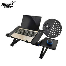 Aluminum Alloy Adjustable Laptop Stand Laptop Desk Bed Standing Notebook Stand With Cooling Fan Mouse Board For Bed Sofa Tray(China)