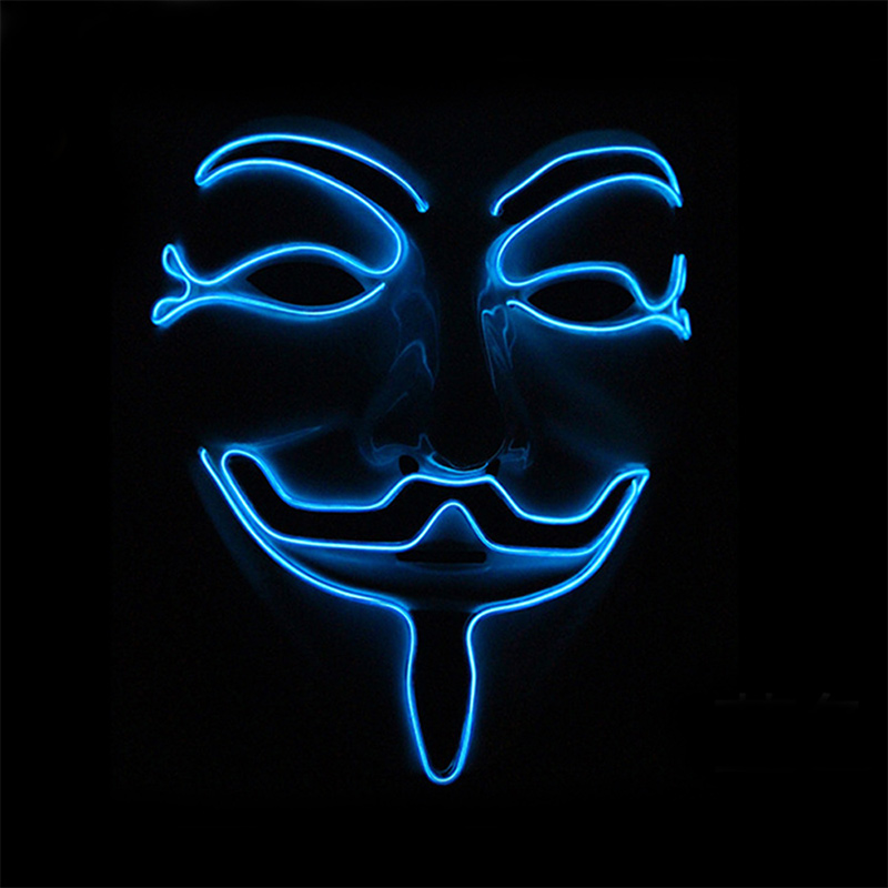BRELONG Halloween LED Illuminated Vendetta EL Mask Glow For Role Playing Party Smiley Face Funny Mask