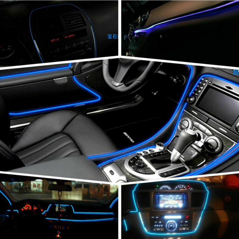 6.5 Ft Car LED Strips Auto Decoration Atmosphere Lamp 12V Flexible Neon EL Wire Rope Indoor Interior LED Car Atmosphere Light