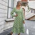 Женское длинное платье, повседневное твидовое Платье макси с длинным рукавом, красное, зеленое, черное платье на осень и зиму