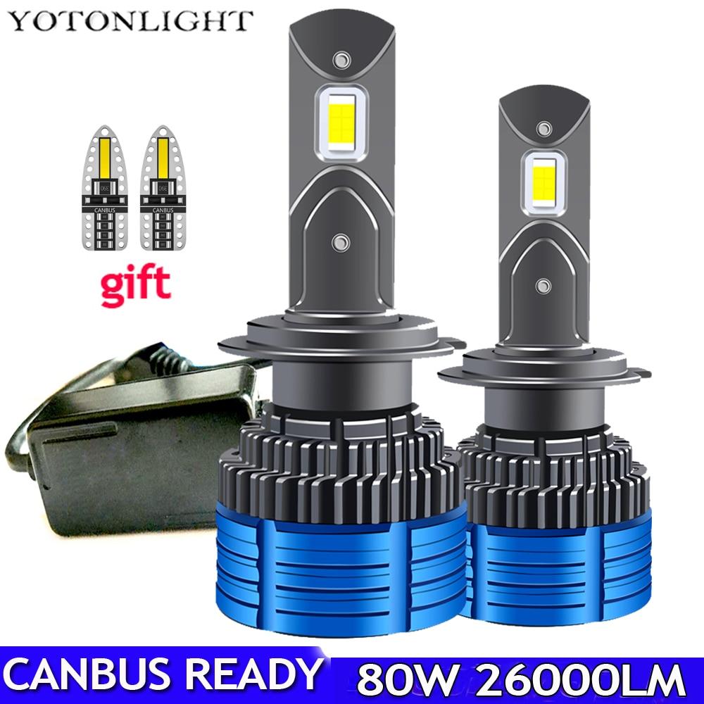Высокая мощность H1 H11 H7 Led Canbus H4 H3 светодиодные лампы для фар 80 Вт 26000lm 9005 Hb3 9006 Hb4 H8 H9 лампа 9012 Hir2 без ошибок 6000k