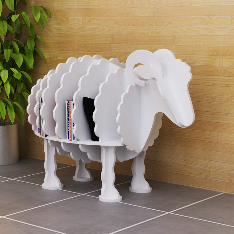 Sheep design bookshelf Creative animals floor PVC shelves Home decor home organization and storage font b