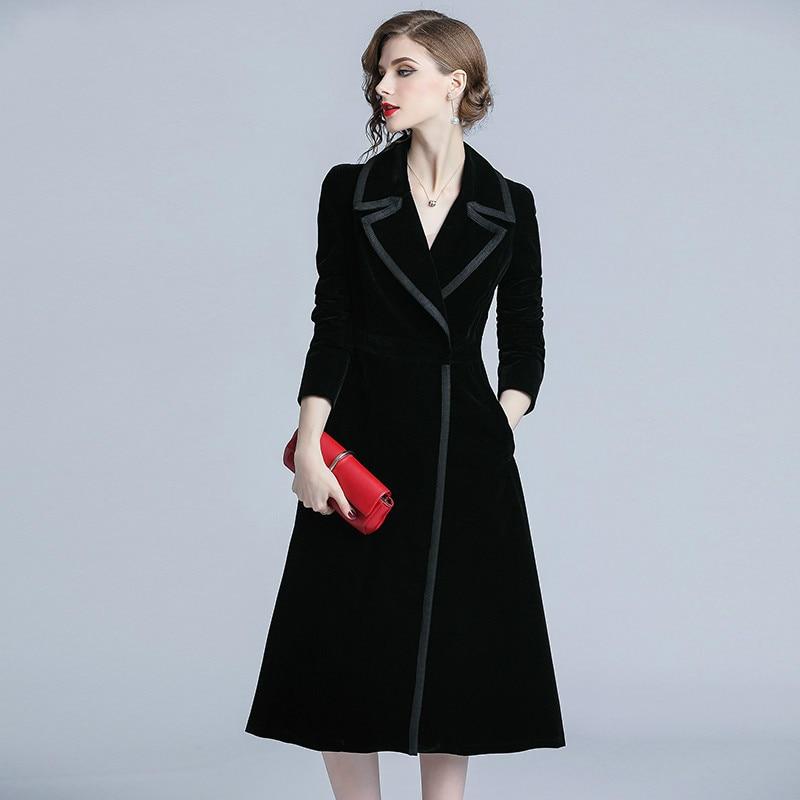 2019 Autumn Winter Velvet Trench Coat Women Abrigo Mujer Long Elegant Notched Outwear Female Overcoat Slim Black Cardigan Trench