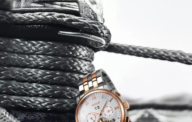 Aesop esqueleto relógio masculino relógio mecânico de
