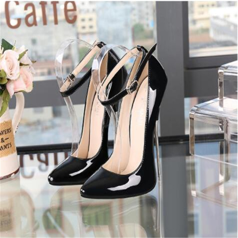 Women's High Heels Sexy Summer Clothes Shiny Surface Color Buckle Solid Heel Good Pointed Material High Heels Woman Size 35-44