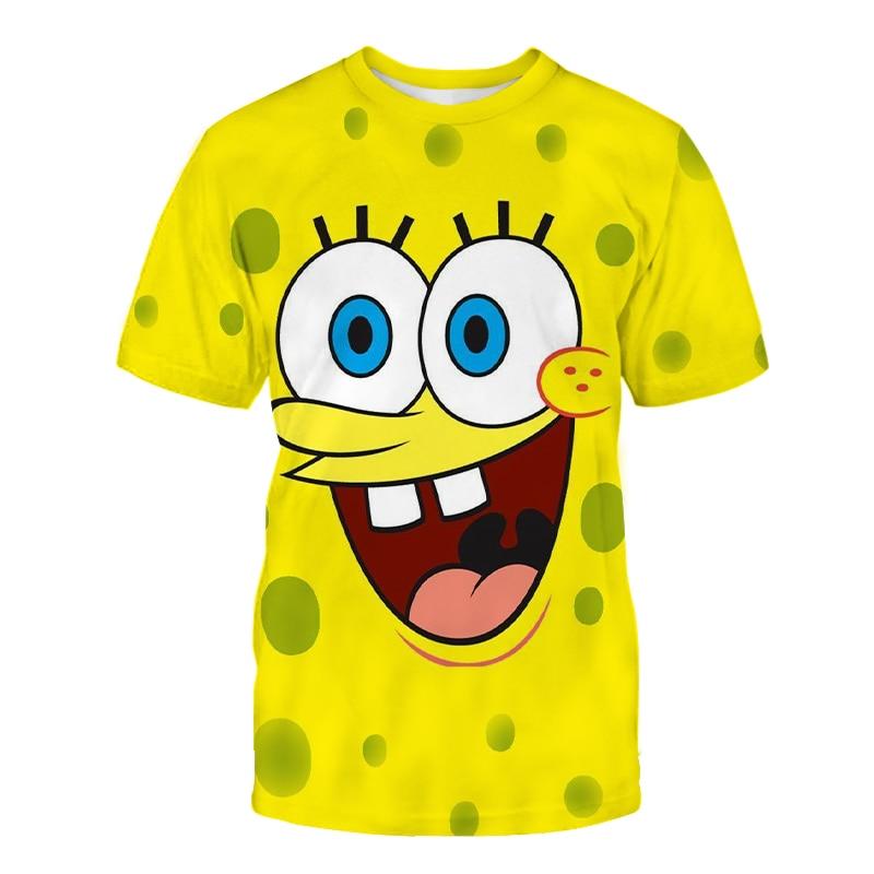 Yellow Bob T-shirt Women Tops Funny Anime Print 3D T shirt Lady Short Sleeved O-neck Tshirts Female Anime Clothes Harajuku Tees