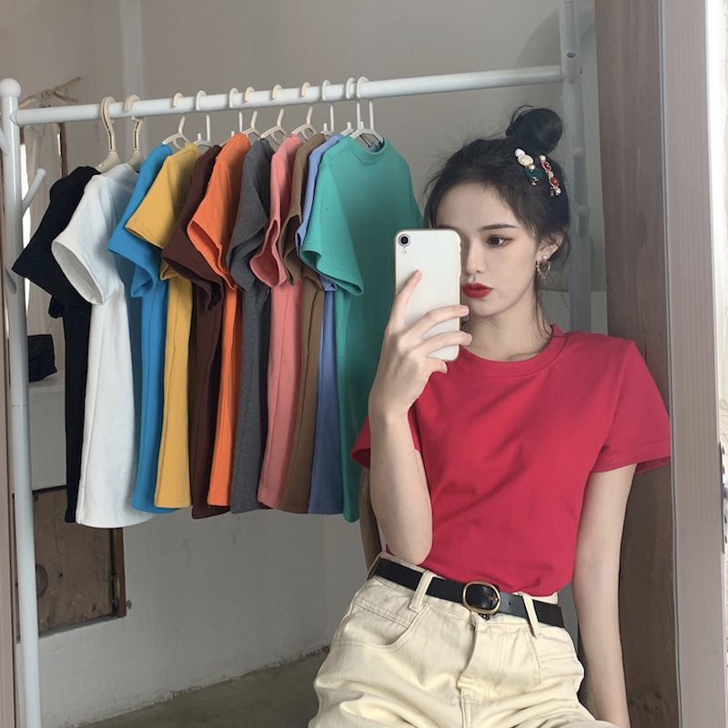 Korean Version Candy Short-Sleeved Tops Women 2020 Loose Base Shirt Spring New Western Style T-shirt Casual O-Neck