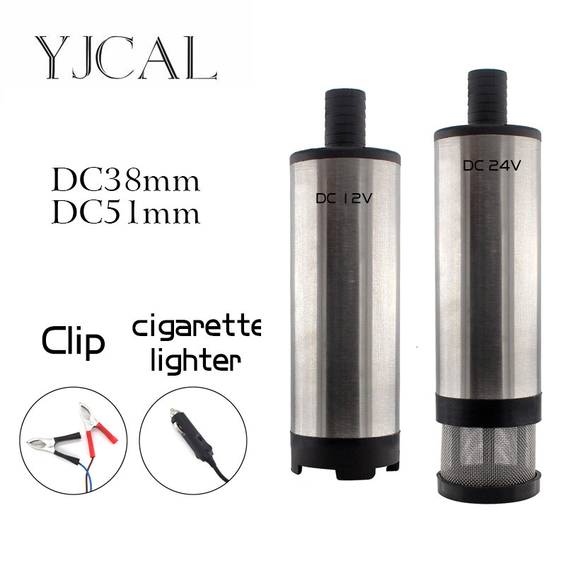 Car Electric Submersible Pump Diameter 38 51MM DC 12V 24V Motor Suction Oil Water Disel Pump Stainless Steel Band Strainer