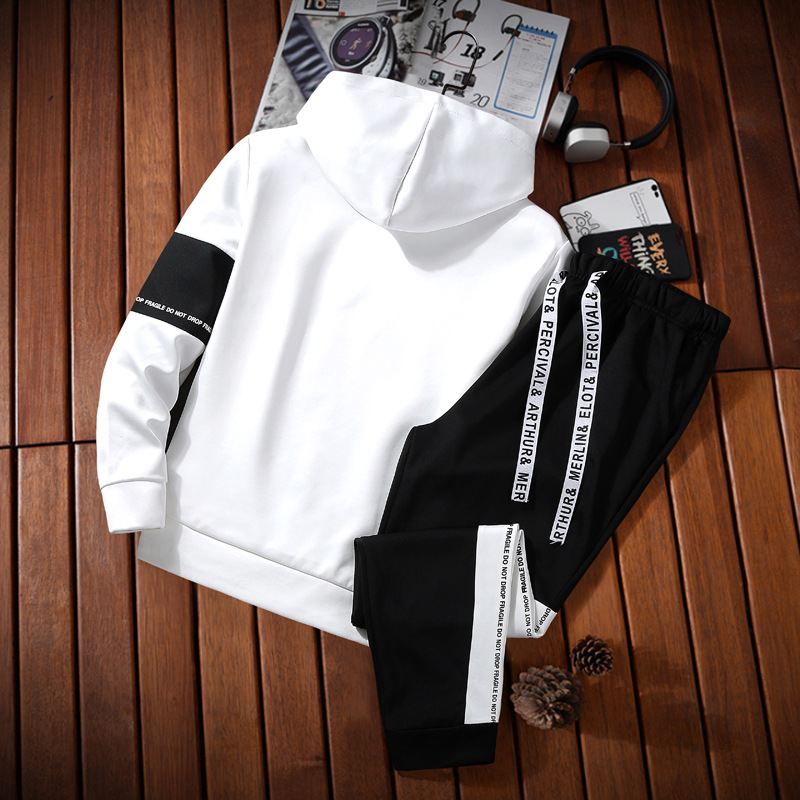 Spring And Autumn New Style Two-Piece Set Japanese-style Korean-style MEN'S Sweater Students Sports Jackets Hooded Set