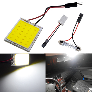 цена на 2Pcs T10 COB 24smd Car LED Panel Super White Car Auto Interior Reading Map Lamp Bulb Light Dome Festoon BA9S 3 Adapter DC 12V