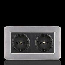 European Wall Socket Outlet 86 Type UK EU Standard Charger Adapter Stainless Steel Panel  Bedroom Plug Sockets 2 USB