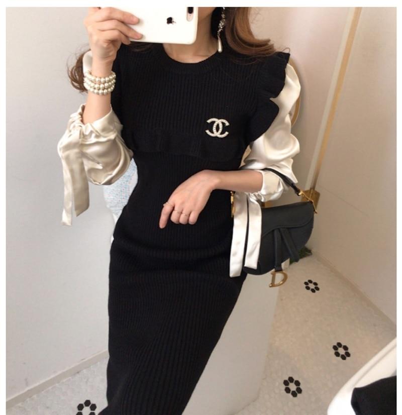Fashion Women Sweater Knit Dress Ruffle  High Waist Bodycon Party Dress Slim Dress Vestidos