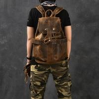 Genuine Leather Backpack Crazy Horse Leather Handmade Men Backpacks Designer Vintage Classic Cowhide Casual Rucksack