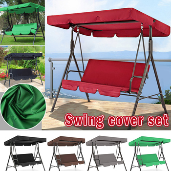 3 Seat Swing Canopies Seat Cushion Cover Set Patio Swing Chair Hammock Replacement Waterproof Garden STSF666