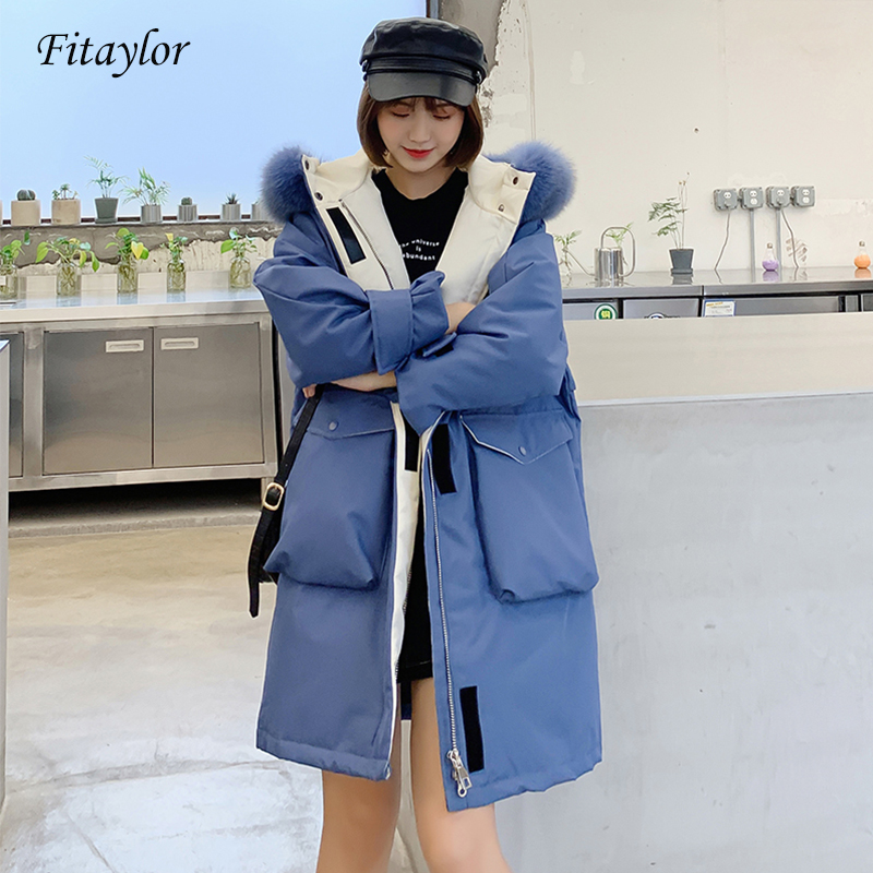 Fitaylor 2019 Winter Large Real Fox Fur Collar Coat Women 90% White Duck Down Jacket Long Parka Hooded Down Outwear