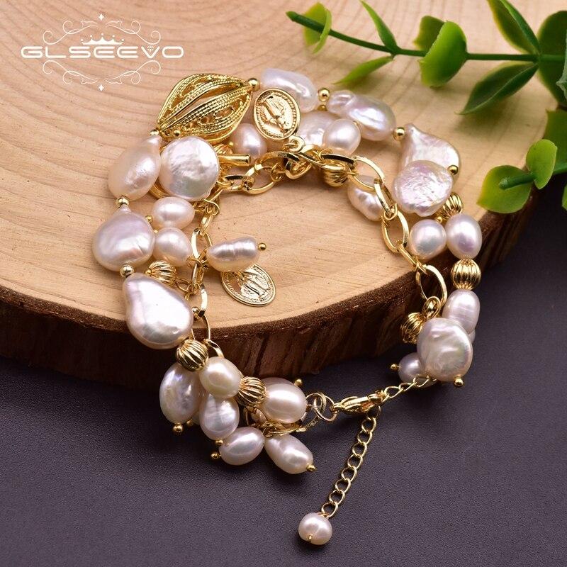GLSEEVO Handgemachte Natürliche Weiße Perle 2 Schicht Charme Armbänder Für Frauen Mädchen Hochzeit Vintage-Schmuck Feine Weibliche Pulseras GB0218