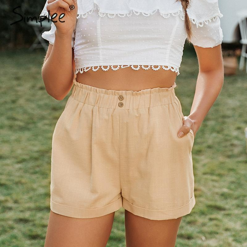 Simplee Casual Buttons Summer Women Cotton Shorts High Waist Female Hot Shorts Solid White Soft Ladies Holiday Streetwear Shorts