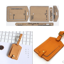 1 Set DIY Leather Handmade flip Luggage Tag Sewing Pattern Hard Kraft Paper Stencil Template